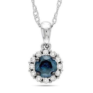 Miadora 14k White Gold 1/2ct TDW Blue and White Diamond Halo Necklace