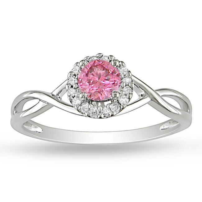 Miadora 14k White Gold 3/8ct TDW Pink and White Diamond Halo Ring - Thumbnail 0