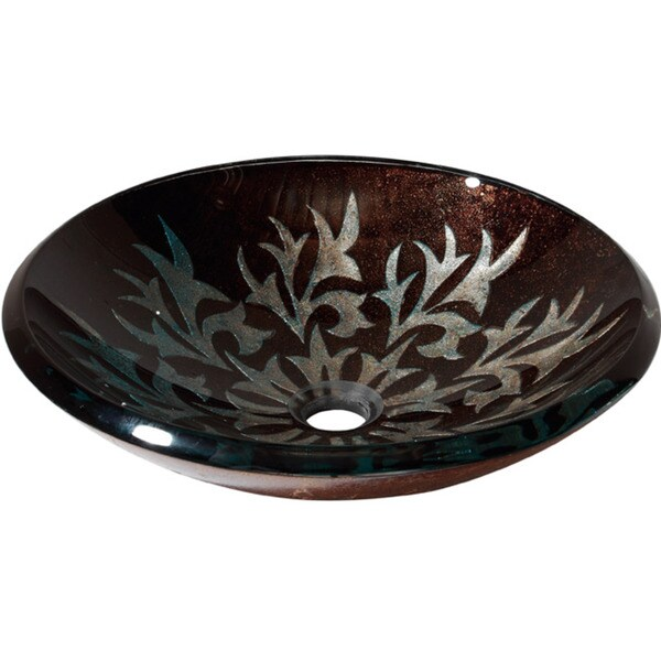 Bon Avanity Contemporary Autumn Leaf Tempered Glass Vessel Sink