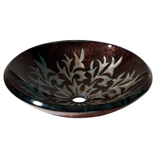 Avanity Contemporary Autumn Leaf Tempered Glass Vessel Sink