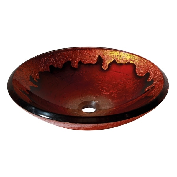 """Avanity 18-inch Round Gold Lava Tempered Glass Vessel Sink - 18""""W x 5""""D"""