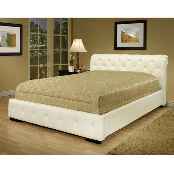 Delano White Bi-cast Leather Queen-size Bed