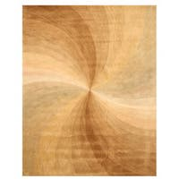 Hand-tufted Wool Gold Contemporary Abstract Swirl Rug - 5' x 8'