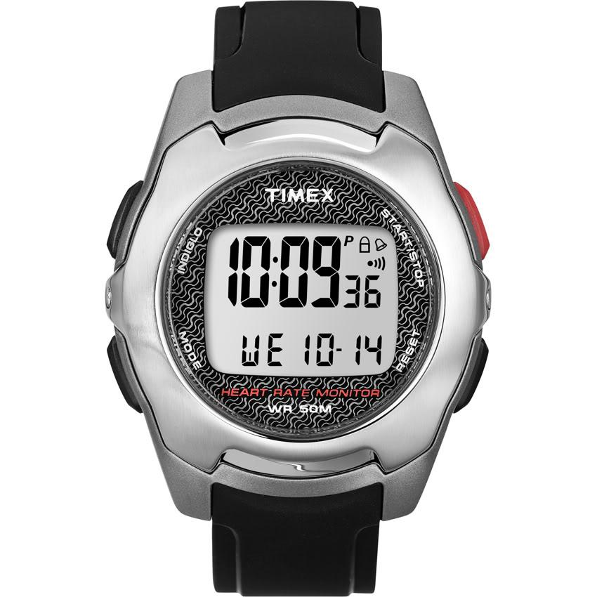 Timex Men's T5K470 Health Touch Contact Heart Rate Monitor Black/Silvertone Watch