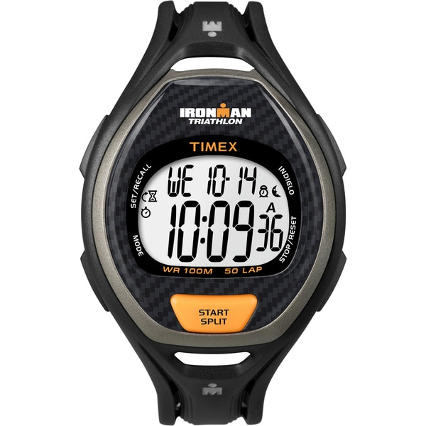 Timex Men's T5K335 Ironman Sleek 50-Lap Black/Orange Watch
