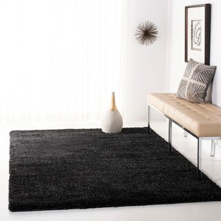 Safavieh California Cozy Solid Black Shag Rug (4' x 6')