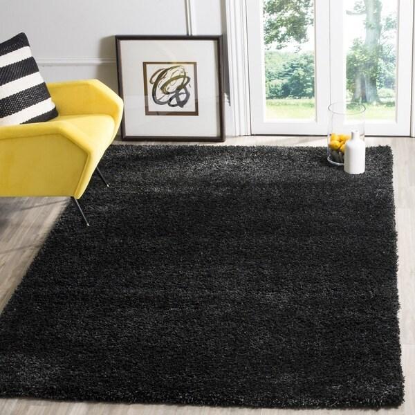 Safavieh California Cozy Plush Black Shag Rug (5'3 x 7'6)