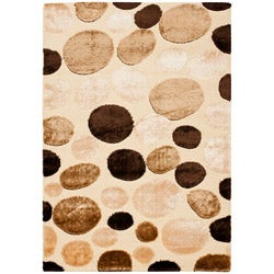 Safavieh Miami Shag Contemporary Silken-Embossed Dotted Cream Rug (5'3 x 7'6)