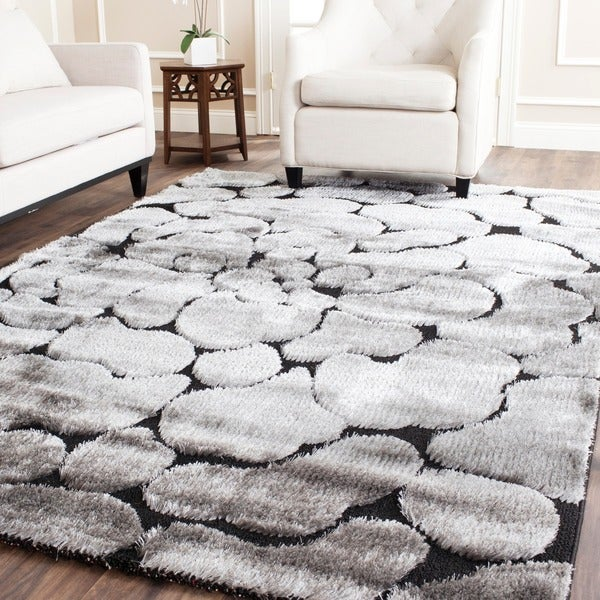 Safavieh Miami Shag Contemporary Silken-Embossed Black/ Grey Rug (8' x 10')