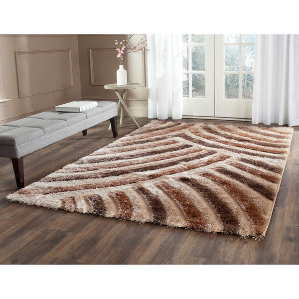 Safavieh Miami Shag Contemporary Silken-Embossed Beige/ Brown Shag Rug (5'3 x 7'6)