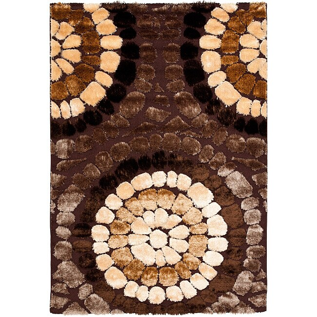 Safavieh Miami Shag Contemporary Silken-Embossed Brown/ Beige Shag Rug (5'3 x 7'6)