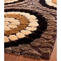 Safavieh Miami Shag Contemporary Silken-Embossed Brown/ Beige Shag Rug (5'3 x 7'6) - Thumbnail 1