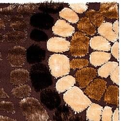 Safavieh Miami Shag Contemporary Silken-Embossed Brown/ Beige Shag Rug (5'3 x 7'6) - Thumbnail 2