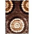 Safavieh Miami Shag Contemporary Silken-Embossed Brown/ Beige Shag Rug (8' x 10')