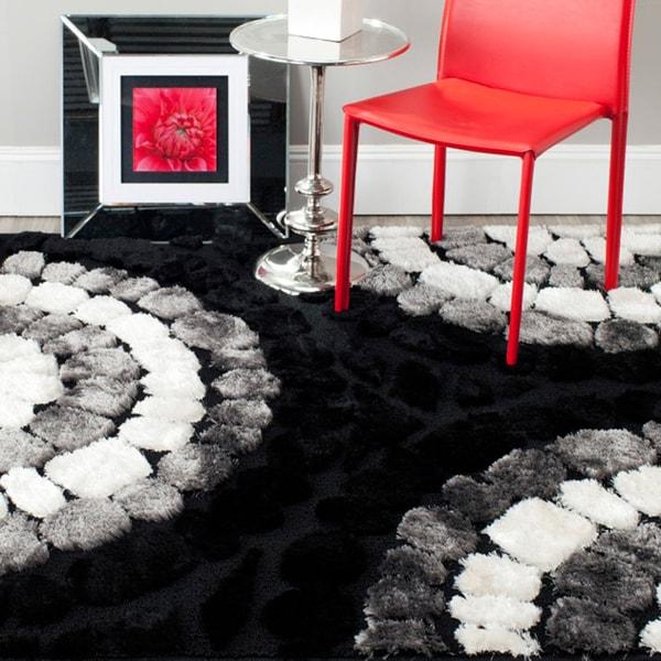 Safavieh Miami Shag Contemporary Silken-Embossed Black Shag Rug (8' x 10')