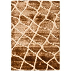 Safavieh Miami Shag Contemporary Silken-Embossed Cream/ Brown Shag Rug (5'3 x 7'6)