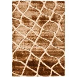 Safavieh Miami Shag Contemporary Silken-Embossed Cream/ Brown Shag Rug - 8' x 10' - Thumbnail 0
