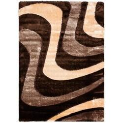 Safavieh Miami Shag Abstract Silken-Embossed Brown/ Beige Shag Rug (5'3 x 7'6)