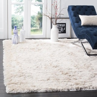 Safavieh Handmade Silken Glam Paris Shag Ivory Polyester Area Rug (3' x 5')
