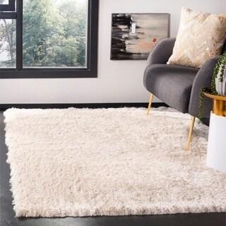 Safavieh Handmade Silken Glam Paris Shag Ivory Polyester Area Rug (4' x 6')