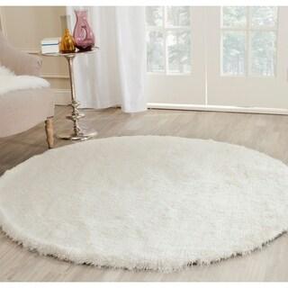 Safavieh Handmade Silken Glam Paris Shag Ivory Polyester Rug (5' Round)