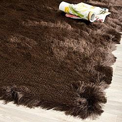 Safavieh Handmade Silken Glam Paris Shag Chocolate Brown Polyester Rug (3' x 5')