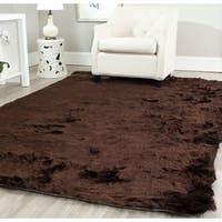 Safavieh Handmade Silken Glam Paris Shag Chocolate Brown Rug - 5' x 7'