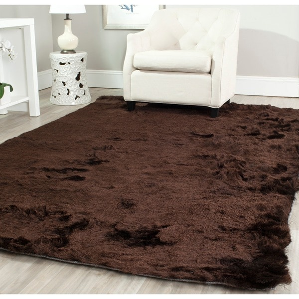 Safavieh Handmade Silken Glam Paris Shag Chocolate Brown Rug (5' x 7')