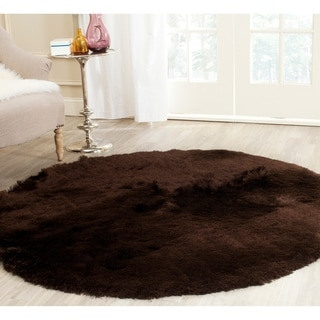 Safavieh Handmade Silken Glam Paris Shag Chocolate Brown Rug (5' Round)
