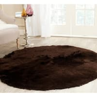 Safavieh Handmade Silken Glam Paris Shag Chocolate Brown Rug - 5' x 5' round