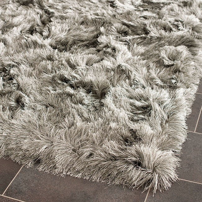 Safavieh Handmade Silken Paris Shag Silver Polyester Rug (2' x 3')