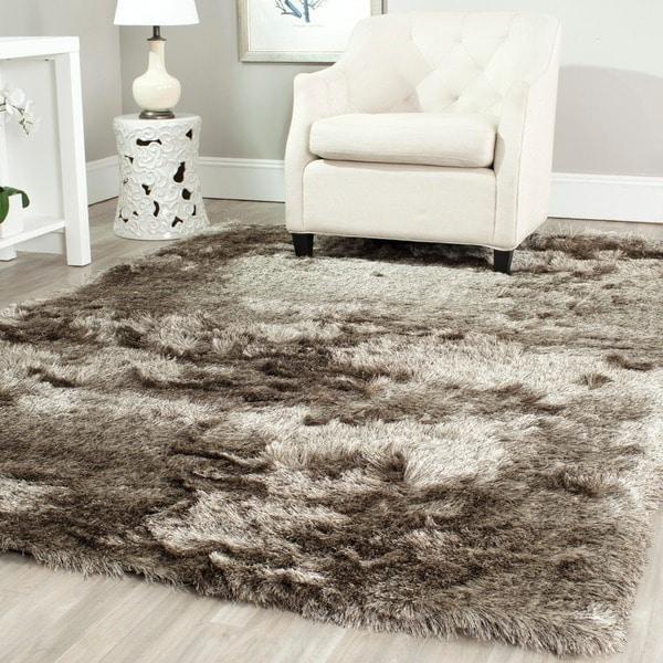 safavieh handmade silken glam paris shag sable brown rug (5' x 7