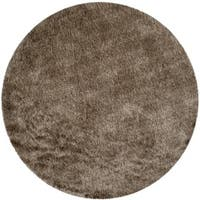Safavieh Handmade Silken Glam Paris Shag Sable Brown Rug - 5' x 5' round