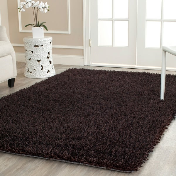 Safavieh Handmade New Orleans Shag Chocolate Brown Textured Polyester Area Rug - 5' x 8'