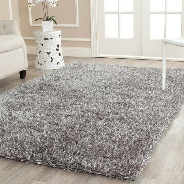 Safavieh Handmade New Orleans Shag Grey Textured Polyester Area Rug (4u0027 X 6u0027
