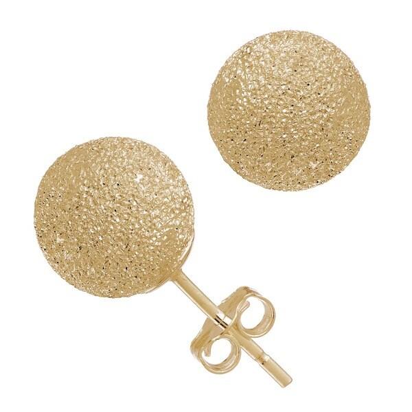 Gioelli 14k Yellow Gold 8mm Laser Cut Ball Stud Earrings