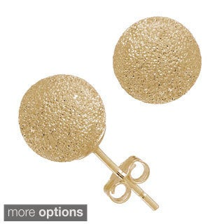 Gioelli 14k Yellow Gold 8mm Laser Cut Ball Stud Earrings