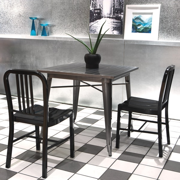 Black Metal Dining Chairs (Set of 2)