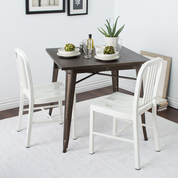 Bon Jasper Laine White Metal Dining Chairs (Set Of 2)