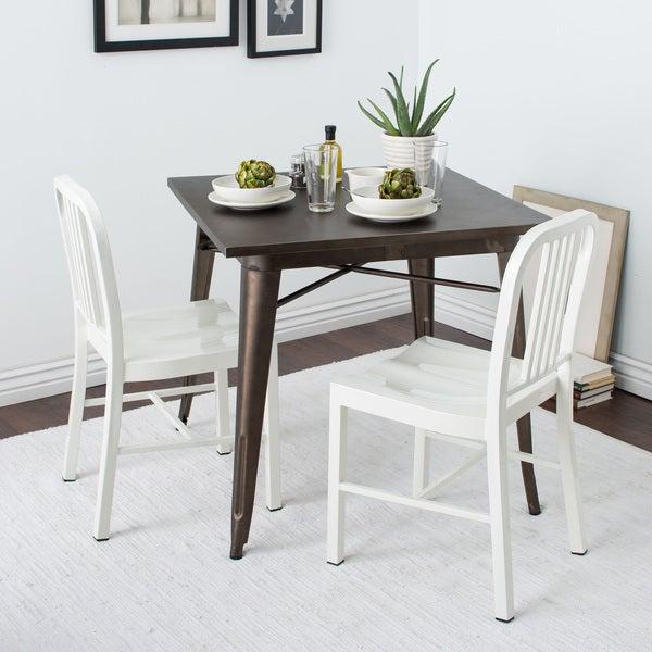 Beau Jasper Laine White Metal Dining Chairs (Set Of 2)