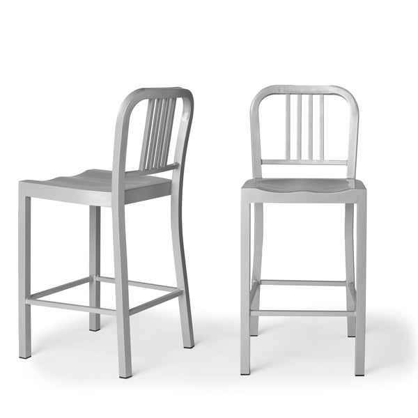 Contemporary Silver Metal Counter Stools (Set of 2)