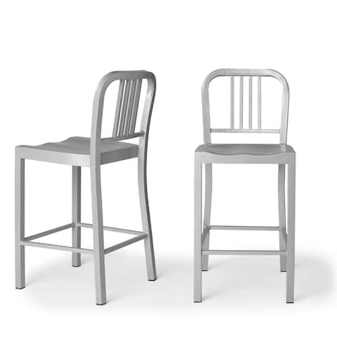 Strick & Bolton Contemporary Silver Metal Counter Stools (Set of 2)