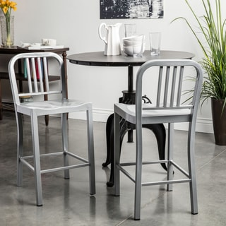 Silver Metal Counter Stools (Set of 2)