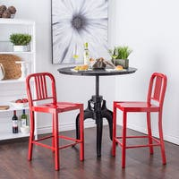 Clay Alder Home Huey P. Red Metal Counter Stools (Set of 2)