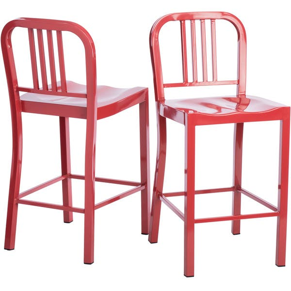 Swell Shop Strick Bolton Red Metal Counter Stools Set Of 2 Cjindustries Chair Design For Home Cjindustriesco
