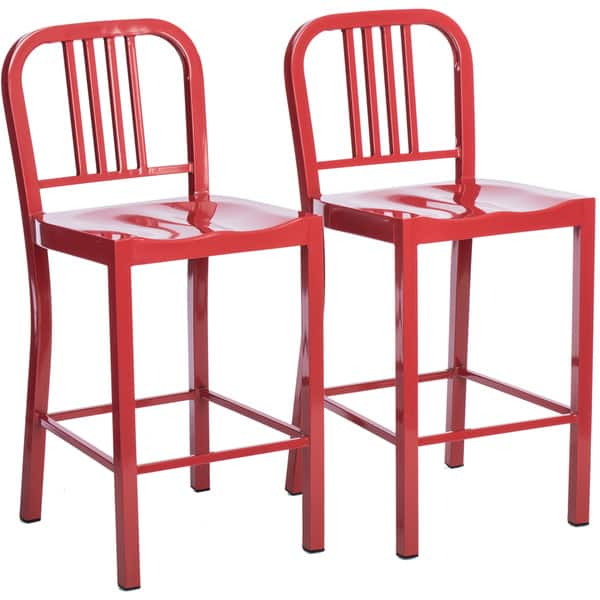 Surprising Shop Strick Bolton Red Metal Counter Stools Set Of 2 Cjindustries Chair Design For Home Cjindustriesco