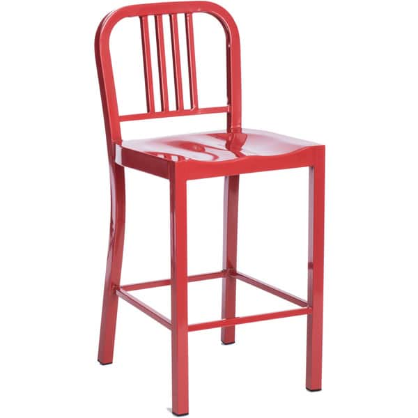 Cool Clay Alder Home Huey P Red Metal Counter Stools Set Of 2 Uwap Interior Chair Design Uwaporg