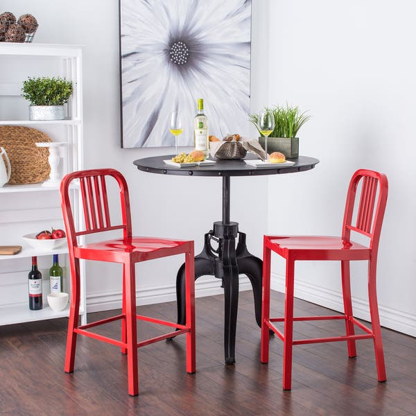 Admirable Clay Alder Home Huey P Red Metal Counter Stools Set Of 2 Uwap Interior Chair Design Uwaporg