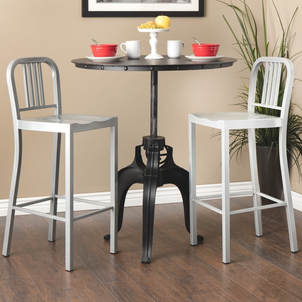 Silver Metal Bar Stools (Set of 2)