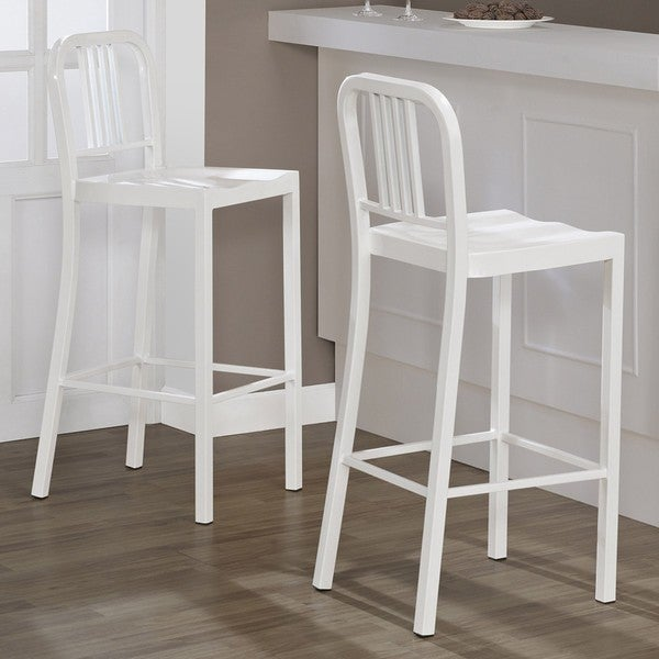 Shop White Metal Bar Stools Set Of 2 Free Shipping